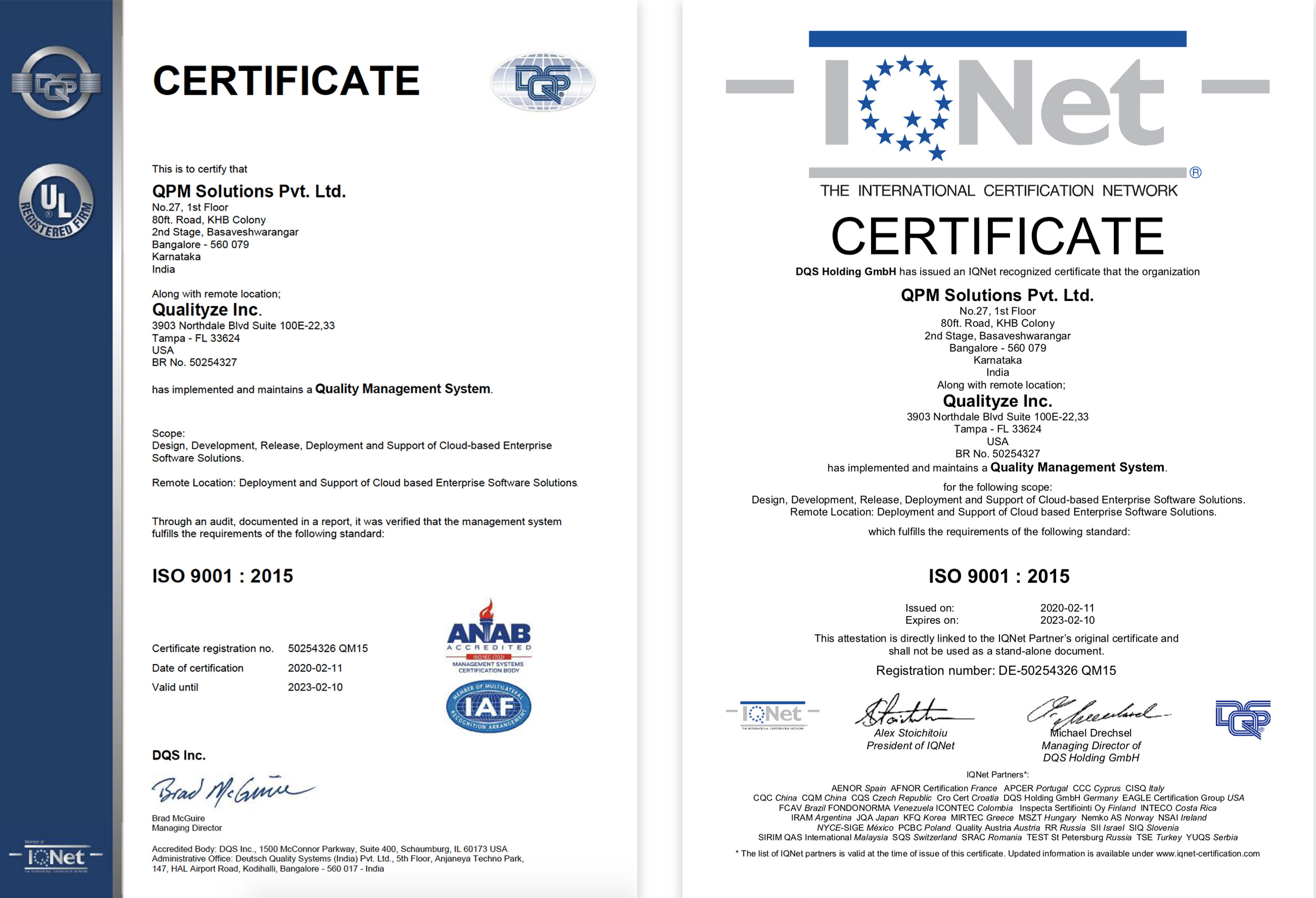 Qualityze Achieves ISO 9001:2015 Quality Management System Certification